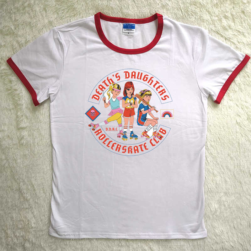 0275047ed6d6 Funny Death's Daughter Roller skate Club Vintage Girl's T shirts Oversize  Summer Cotton Short Sleeve O