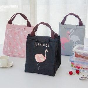 Image 2 - Junejour Neopreen Lunch Tas Voor Kinderen School Waterdichte Lunchbox Oxford Flamingo Draagbare Lunch Tas Tote Handtas Voedsel Container