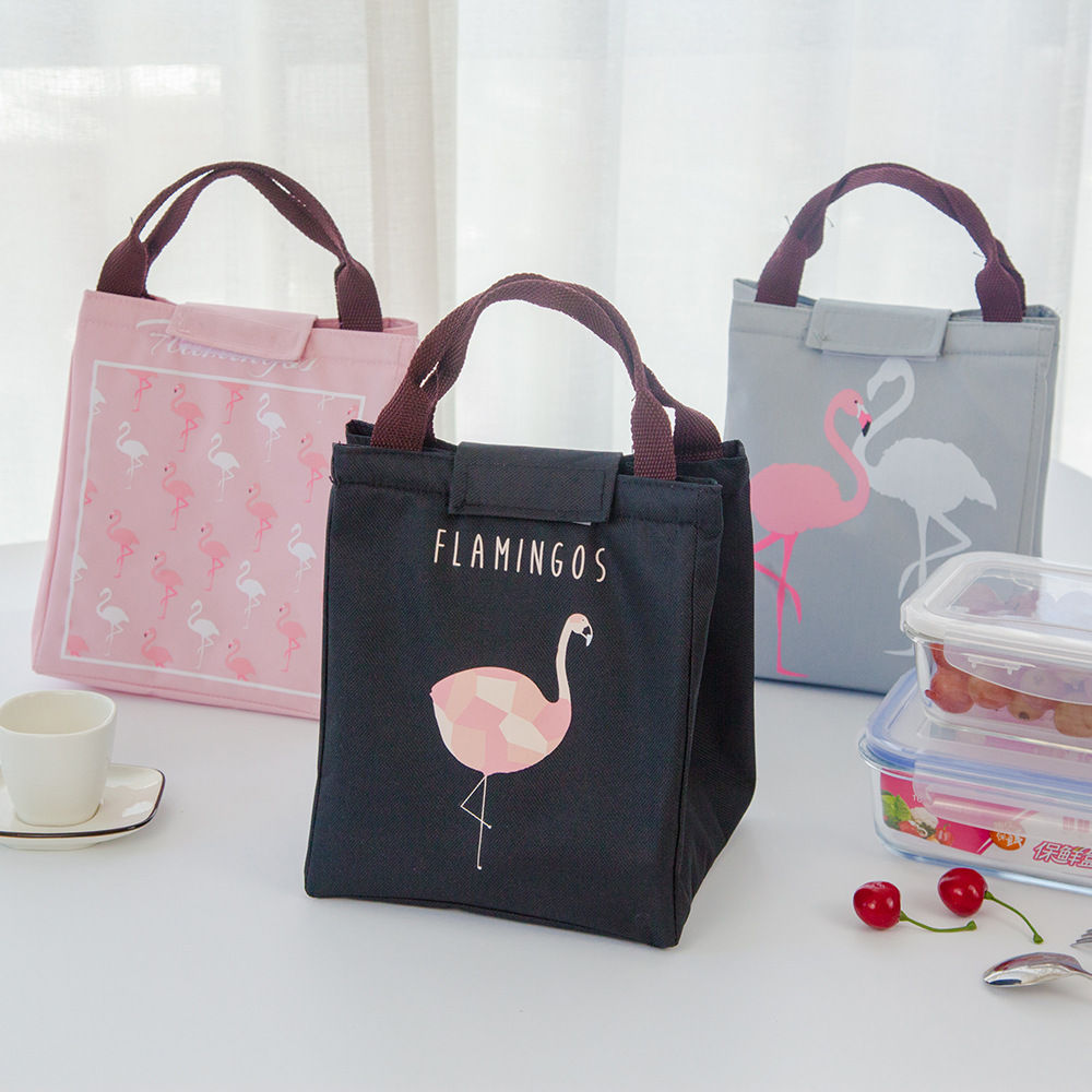 Image 2 - Junejour neoprene lunch bag For kids school Waterproof Lunch box Oxford Flamingo Portable  Lunch Bag Tote Handbag Food Container-in Storage Bags from Home & Garden