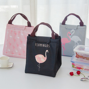 Image 2 - Junejour neoprene lunch bag For kids school Waterproof Lunch box Oxford Flamingo Portable  Lunch Bag Tote Handbag Food Container