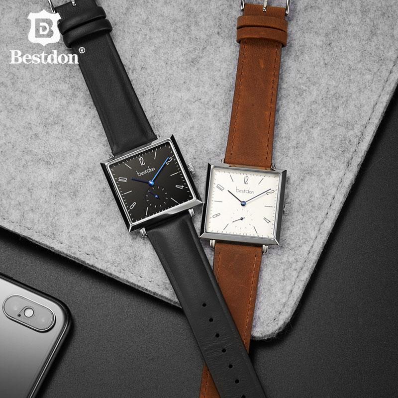 Bestdon นาฬิกาผู้ชายหรูหรายี่ห้อสวิตเซอร์แลนด์บาง Casual นาฬิกาหนังกันน้ำ Retro Quartz Relogio Masculino 99234 2-ใน นาฬิกาควอตซ์ จาก นาฬิกาข้อมือ บน   1