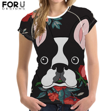 FORUDESIGNS Cute Boston Terrier Print T-Shirt Women Cool Summer Breathable Short Sleeve Tee Tops Female Casual Tshirt 2019 New