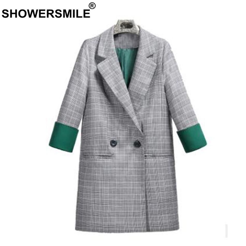 SHOWERSMILE Plaid Women Blazer Houndstooth Long Double Breasted Suit Female Spring Vintage Tartan Ladies Jacket Coat Outwear