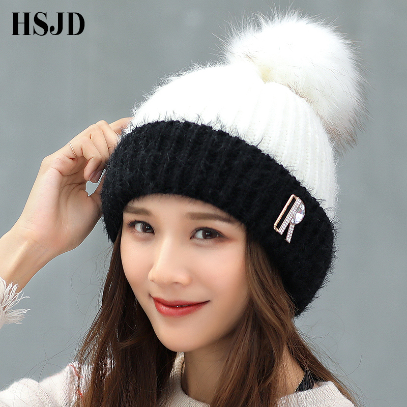 Big Pom Poms Winter Hat Women Double Colors Knitted Hats Caps for Girls Fashion Female Diamonds Letter Warm   Beanies     Skullies   Hat