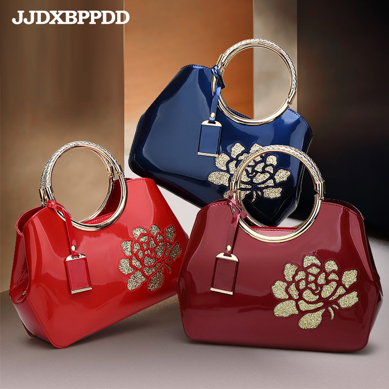 Luxury Europe Fashion Women Bag Embroidery Sequined Chains Patent Leather Famous Brand Shoulder Handbag Ladies Messenger Ba ...