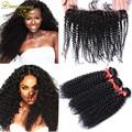 13 x 4 Lace Frontal encerramento com Bundles Mongolian Kinky Curly cabelo com fechamento frontal, Barato Afro Kinky Curly com laço Frontal