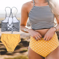 2018 Stripe High Neck Bikini Set Women Swimwear Swimsuit Biquini Ruffle Bikini Beach Wear Brazilian Bikinis