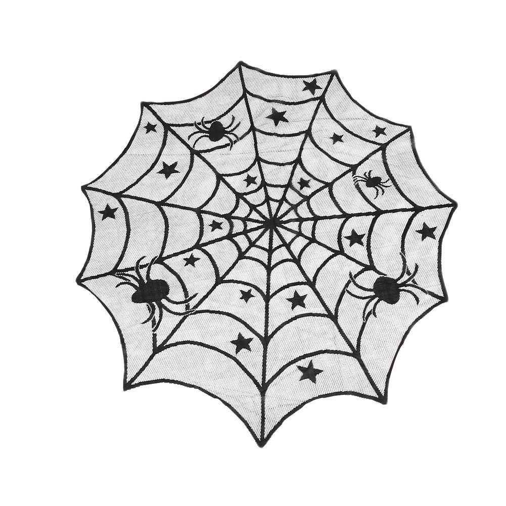 Ourwarm 100cm Spider Web Tablecloth Black Round Lace Table Topper Covers For Party Decoration