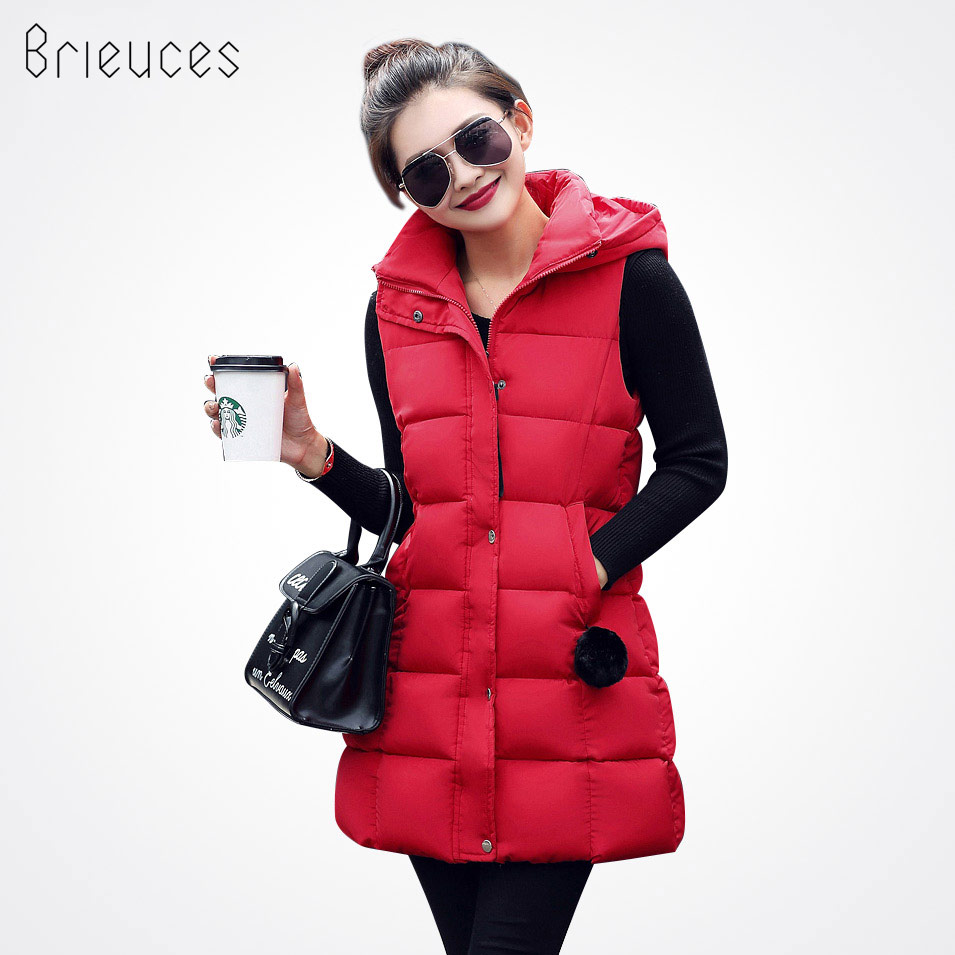 Brieuces Women Winter Vest women Waistcoat Womens Long Vest Sleeveless Jacket Faux fur ball Hooded Down Cotton Warm Vest Female