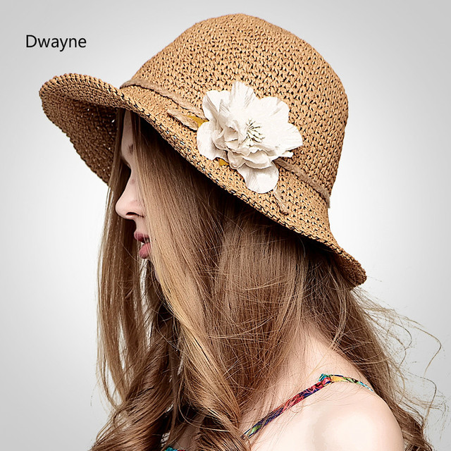 bcbdd786baa Brand New Summer Women Bucket Hat Foldable Floppy Causal Beach Sun Visor  Handmade Weaving Paper Straw