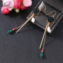 Badu Long Thin Dangle Drop Earrings Ethnic Retro Style Black Rock Crystal Pendant Fashion Jewelry for Christmas Wholesale недорого
