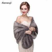 2018 Warm Women's Wrap Capelets Faux Fur Stole Grey Bolero Wedding Party Evening stola bont Winter Imitation Fox Fur Cape Shawl