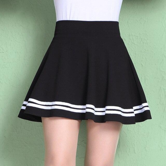 9359f5442e874 2017 New Fashion Women Skirt Spring Summer Style High Waist Skirts School Student  Casual Striped Mini Skirt Plus Size Saia SF212
