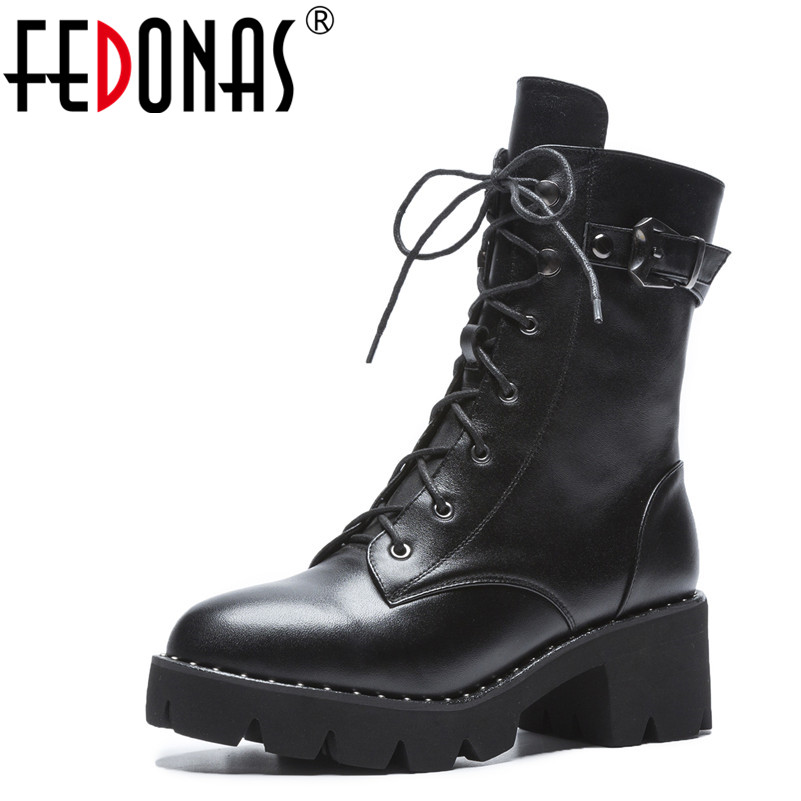 FEDONAS New Women Ankle Boots Genuine Leather Autumn Winter Warm High Heels Shoes Woman Round Toe Cross-tied Motorcycle Boots недорго, оригинальная цена