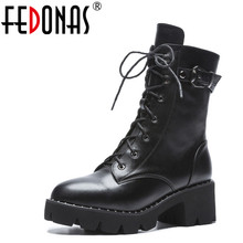 FEDONAS New Women Ankle Boots Genuine Leather Autumn Winter Warm High Heels Shoes Woman Round Toe Cross tied Motorcycle Boots