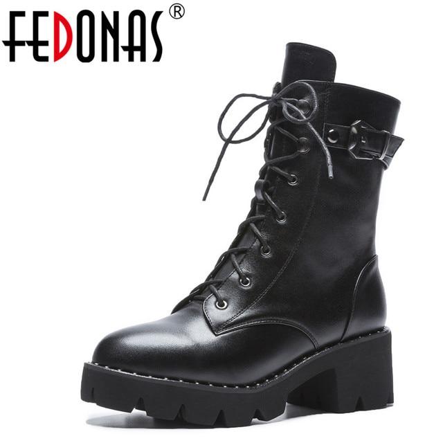 FEDONAS جديد النساء حذاء من الجلد جلد طبيعي الخريف الشتاء الدافئة عالية الكعب أحذية امرأة جولة تو الصليب تعادل دراجة نارية الأحذية