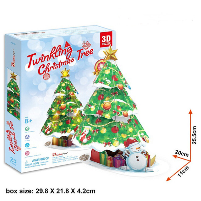 free shipping creative diy 3d puzzle sparkling christmas tree paper material jigsaw puzzle toys for