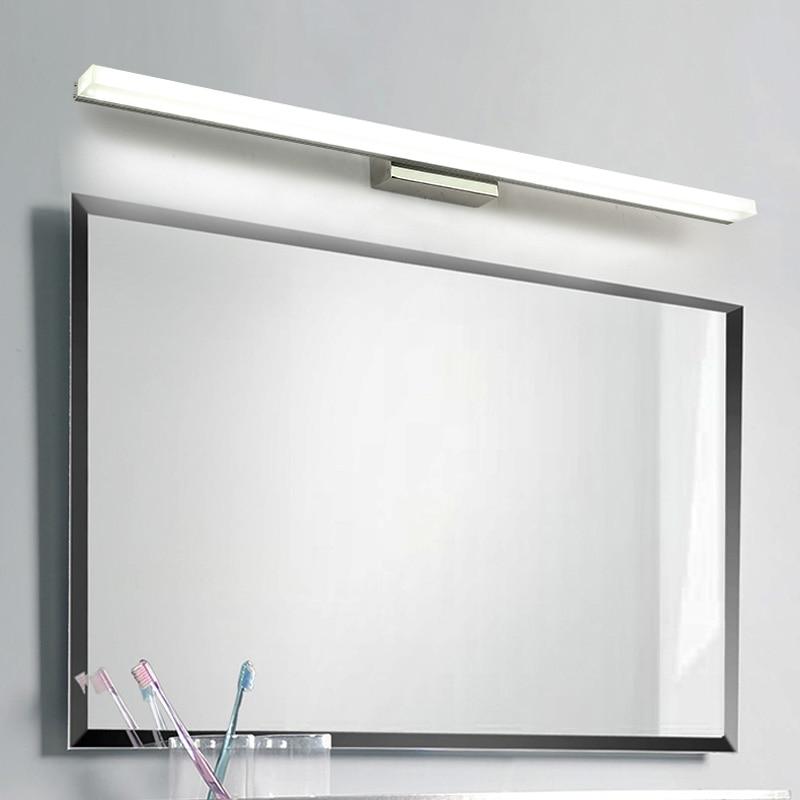 Led miroir lumière acier Inoxydable AC85-265V moderne mur lampe salle de bains lumières 40 cm 60 cm 80 cm 100 cm 120 cm appliques murales