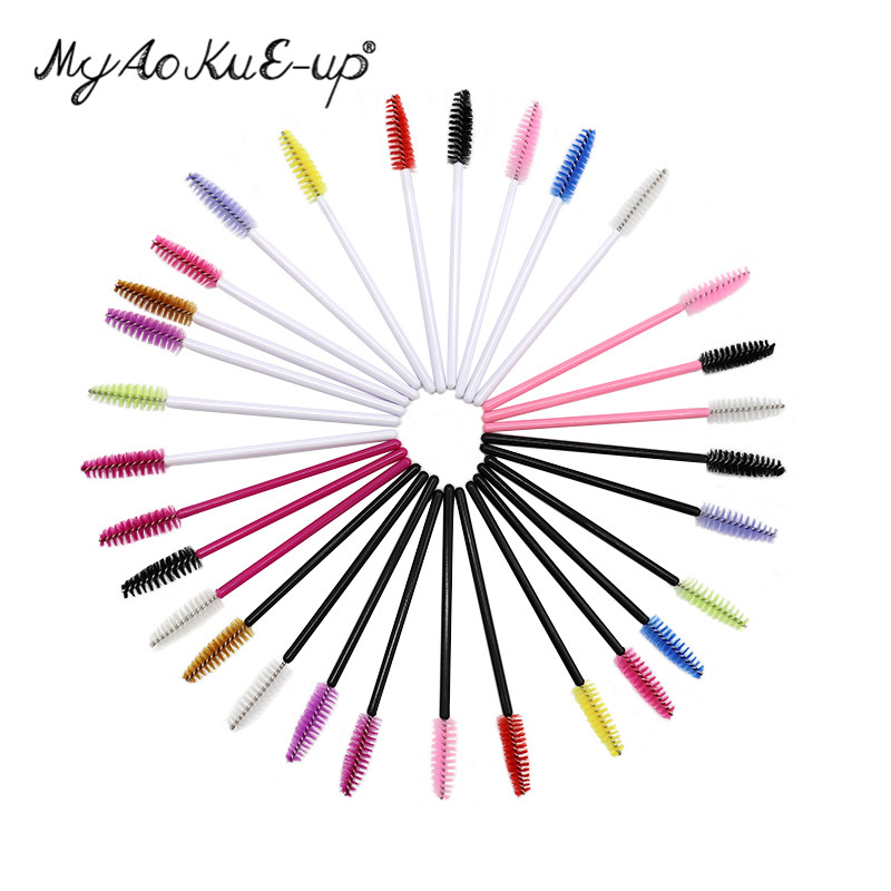 Disposable Eyelash Brush 1000pcs One-off Makeup Tools Colored Eyelash Extension Mascara Brushes Tools Wholesale Make Up Brush