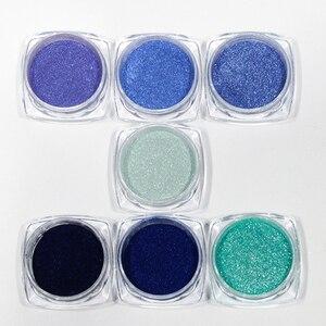Image 2 - 1 flasche Glitter Nagel Pulver Staub Blühende Nail art Design Meerjungfrau Schimmer Blau Farbe Decor Tauch Pigment Maniküre LABJ