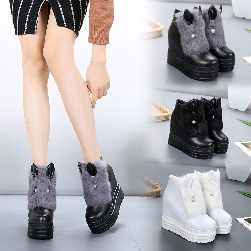 2018 winter plus velvet women's shoes rabbit fur ears muffin thick bottom with increased wedge heel boots and bare boots.
