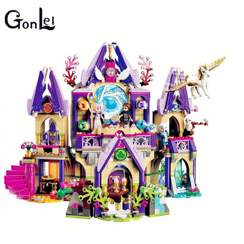 (GonLeI) 10415 809 Pcs Elves Skyra's Mysterious Sky Castle Model Building Kit mini Blocks Brick Toy Gift 2017 10415 elves azari aira naida emily jones sky castle fortress building blocks toy gift for girls compatible lepin bricks