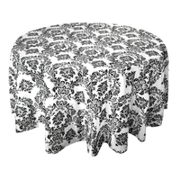 12 шт. 335 см x 335 см квадратный черный, белый цвет Флокирование Дамаск Таблица скатерти для свадебного стола Лен вечерние банкетные Аксессуары