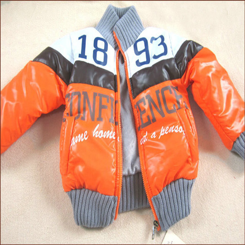Retail Children Boys jacket Outerwear Baby Thick orange letter1893 Leather cotton Kids Jacket Winter Baby Coat Children Clothing