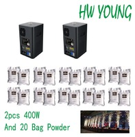 HWyoung 2 pcs 400w and 20 bags/200g ti powder DMX512 control cold fireworks machine wedding Stage Effect Fountain in/outdoor