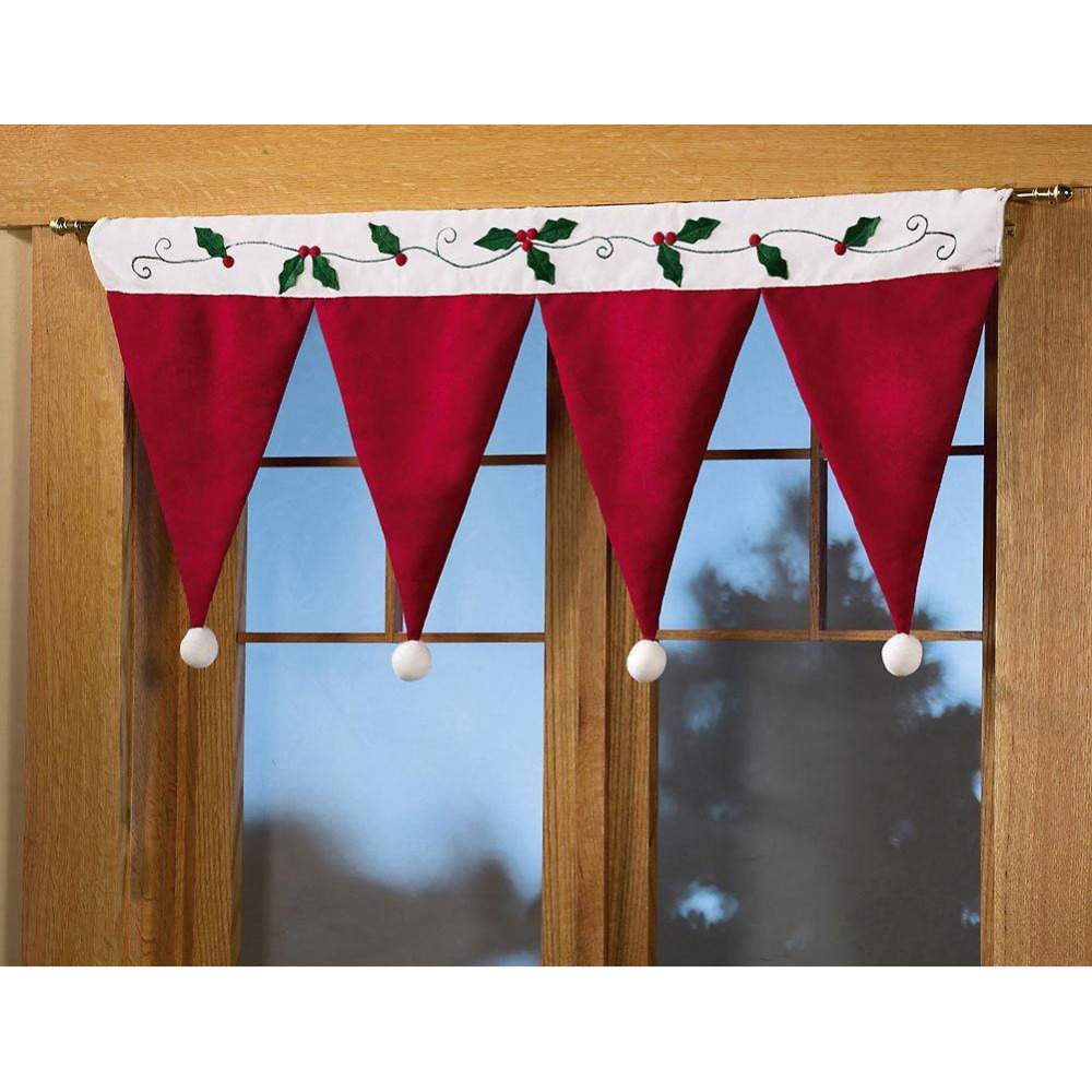 Christmas valances - Santa Claus Hat Cap Valances For Home Decor Door Window Drape Panel Christmas Decorative Curtain Xmas
