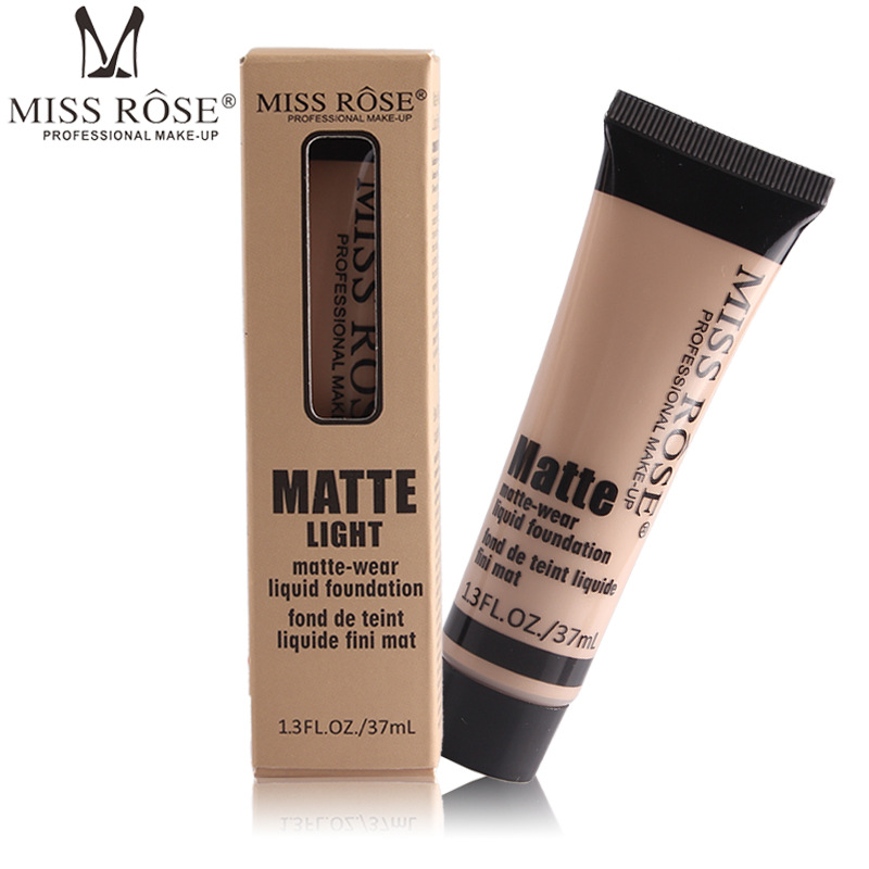 Miss Rose Brand Makeup Matte Wear Liquid Foundation Maquiagem 10 Colors Face Cream Base Foundation Fond de teint concealer in Face Foundation from Beauty Health