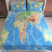 3Pcs/Set World Map Printed Queen Comforter Bedding Sets King Twin Size Luxury 3d Bed Duvet Cover Sheet Set Linen Home Textiles