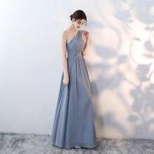 Cinza-azul vestido de dama de honra longo chiffon vestidos de festa de formatura vestido de dama de honra S-4XL
