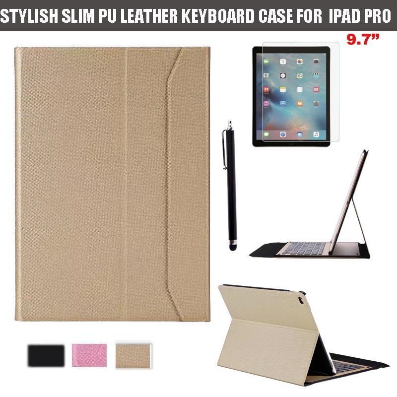 ФОТО Ultra Thin Wireless Bluetooth Keyboard Laptop Stylish & Protective PU Leather Folio Stand Case For Apple iPad Pro 9.7'' Tablet