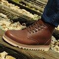 Натуральная кожа Мартин сапоги обувь кожа мужчины Британский стиль высокие верхние мужчины зимние сапоги
