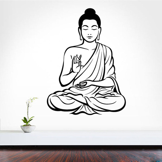 dctop meditating buddha diy removable art 3d wall sticker mural