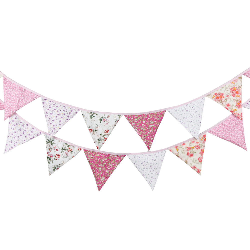 12 Flag 3.3 m Retro Flowers Pennant Flag Baby Childrens Birthday Decoration Shooting Flags Wedding Parties Flags Home Decor