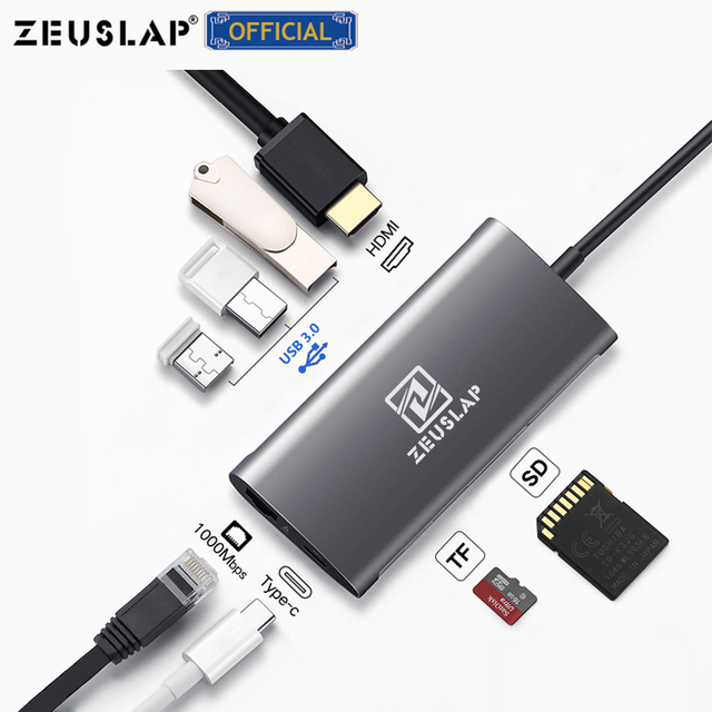 ZEUSLAP USB3.0 HUB USB C sang HDMI RJ45 Thunderbolt 3 Adapter cho Macbook Samsung Galaxy S9 Huawei Mate 10 P20 pro Loại C HUB