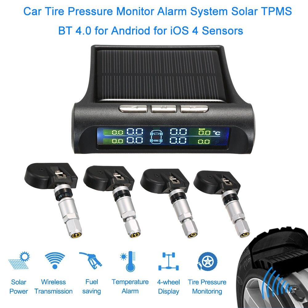 Systematisch Auto Bandenspanning Monitor Alarmsysteem Solar Tpms Bt 4.0 Voor Andriod Voor Ios 4 Sensoren Voor Peugeot 206/ 307/407 Renault Laguna 2 Aangenaam Voor Het Gehemelte