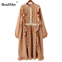 RealShe Women Boho Style Long Dress Womens Spring Long Sleeve Ruffles Dresses Femme Floral Vintage Chiffon