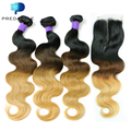 8A Ombre 3 Color T1b/4/ 27 Brazilian Virgin Hair with Closure 3Bundles Body Wave Brazilian Ombre Human Hair with 1 pcs Closure