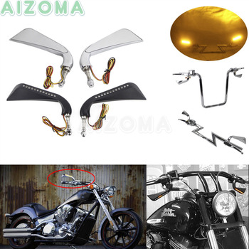 "CNC Motorcycle 5/16""Bolt Rear Side Mirrors w/ Axe Sequential LED Turn Signals For Harley Sportster Touring Dyna Street Fat bob"