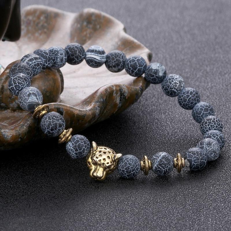 Leopard Bracelet Men Bracelets For Women Pulseira Masculina Buda Jewelry Bileklik Pulseira 8mm Natural Stone Bead Braslet 2017