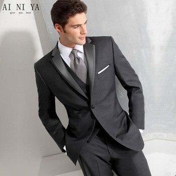 Custom Made Fashion Dark Grey Men Business Suit Men Wedding Suits Groom Tuxedos Best man Suit Groomsman(Jacket+Vest+Pant+Tie)