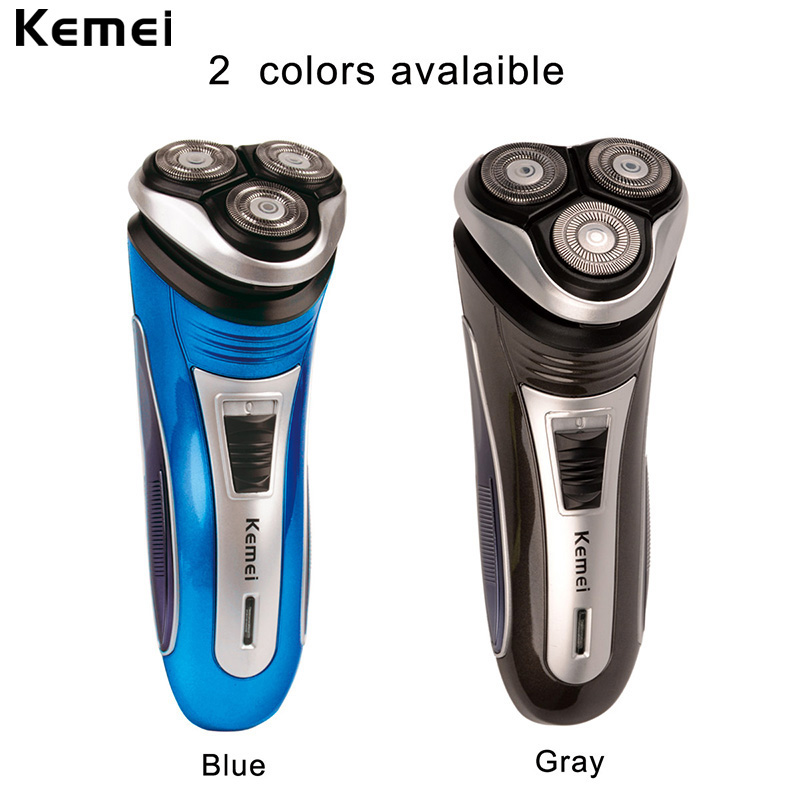 Kemei 100-240V Rechargeable Electric Shaver 3D Triple Floating Blade Heads Shaving Razors Face Care Men Beard Trimmer Machine 46