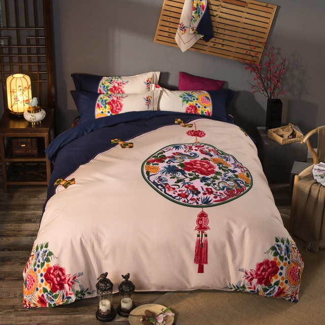 Exotic Oriental Classical Design Bedding Set Queen King Size Duvet Cover Bed  Sheets Chinese 100%