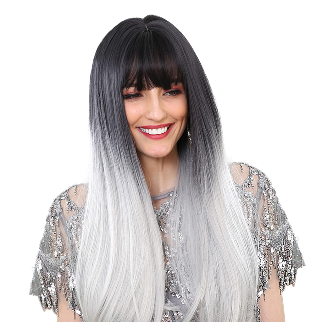 Long Straight Synthetic Wigs Hair With With Neat Bangs Black Gradient White защитный детский шлем