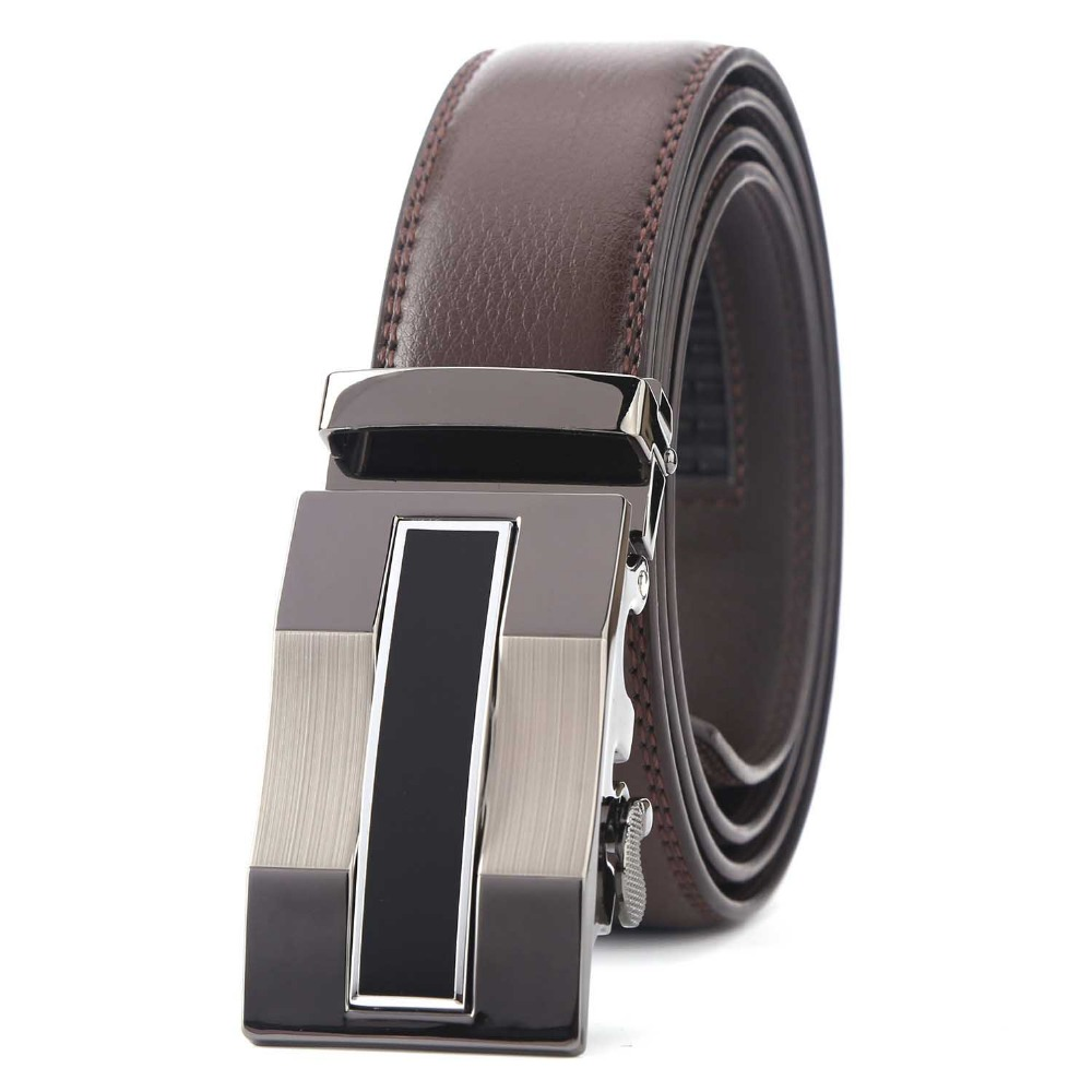 Fashion Men's Brand Genuine Leather Belt Brown Automatic Buckle Size 110-130 cm Waist Strap Business Male Cintos High Quality