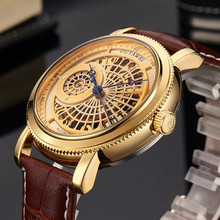 OUYAWEI Full gold dial Men Wristwatch Creative Skeleton Male Clock Leather Strap Gold  Automatic Mechanical Casual Watches 2019
