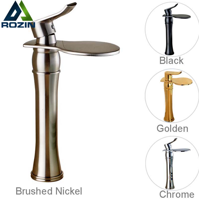 Luxury Round Waterfall Bathroom Sink Mixer Faucet Single Lever Countertop Wash Basin Faucet Chrome/Golden/Brushed Nickel/Black jingdezhen ceramic art countertop wash basin for bathroom
